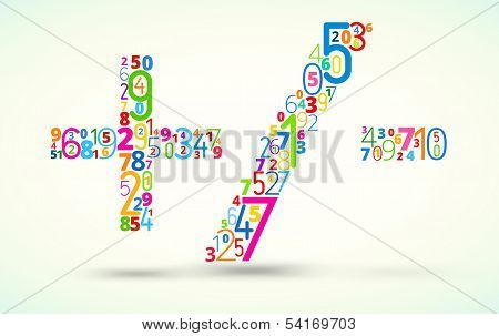 Math operands, colored vector font from numbers