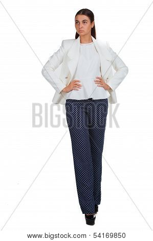 Business woman in a white suit