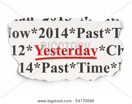Time concept: Yesterday on Paper background