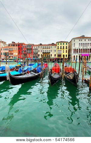 Gondolas on Grand Canal, Venice, Italy