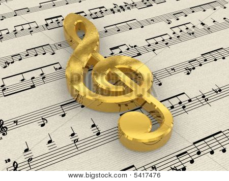 Golden Treble Clef On Score Paper