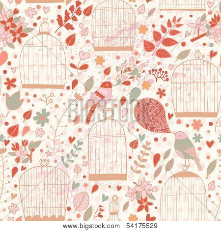 Vintage seamless pattern with cages and birds in pink colors. Cute autumn texture with elegant birdcages. Wedding floral vector background.