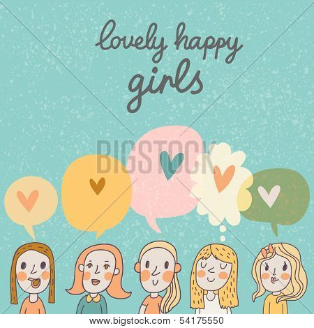 Lovely happy girls �¢�?�? cute cartoon vector girls. Bright romantic card