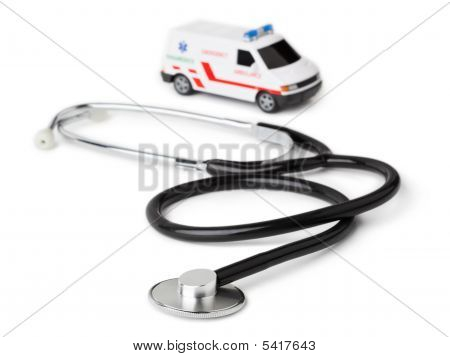 Stethoscope And Toy Ambulance Car