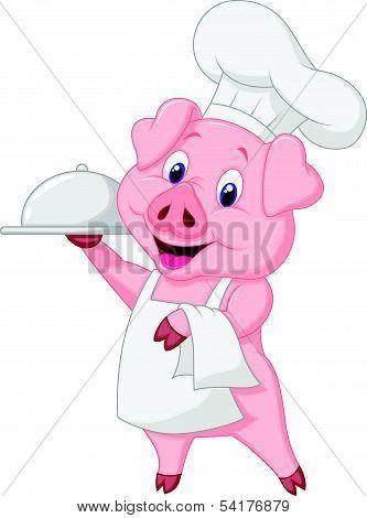 Cute pig chef cartoon holding platter