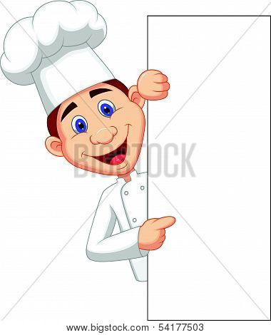 Happy chef cartoon holding blank sign