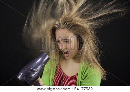 Girl Blowdrying Her Hair