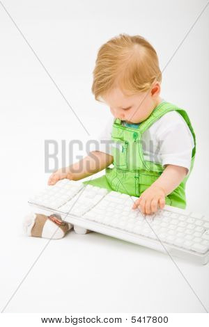 Baby With White Keyboard