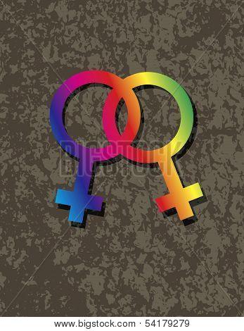 Female Lesbian Gender Symbols Interlocking Illustration