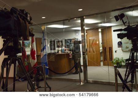 Media Setup Outside Mayor's Office