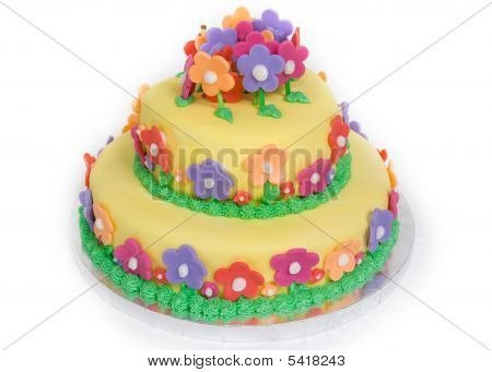 Spring Flower Cake On White
