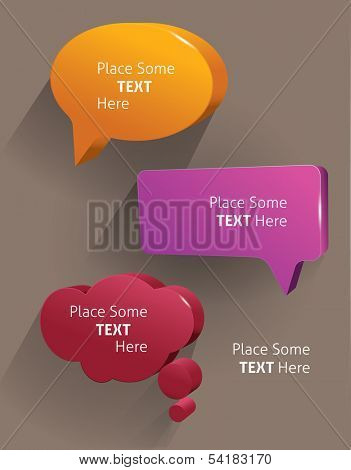 Speech bubbles 3d. Vector illustration