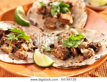 authentic mexican tacos in soft corn tortilla
