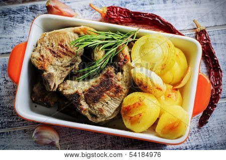 Lamb Chops - grilled lamb chops with grilled potatoes and onions