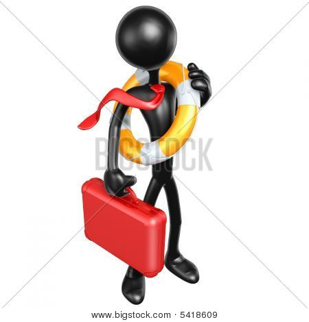 3D Character Businessman With Lifebuoy