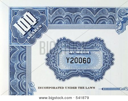 Shares Certificate With Serial Number