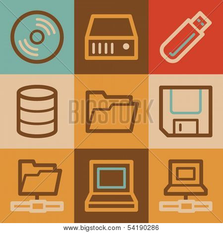 Drive storage web icons, vintage series