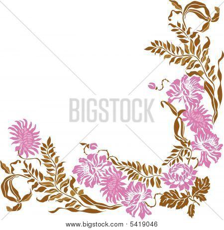 Floral Vintage Frame Element.  Vector Illustration