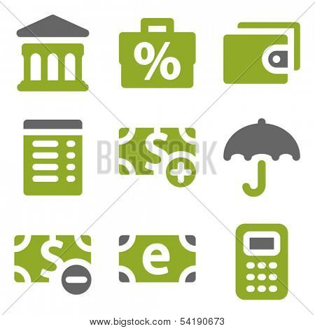Finance web icons set, kiwi series