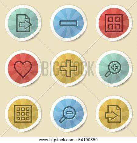 Image viewer web icons, color vintage stickers