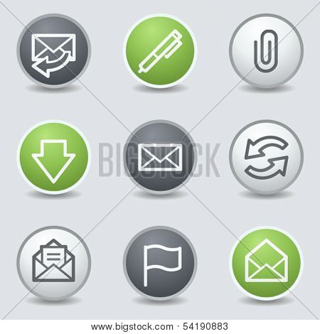 E-mail web icons, circle buttons