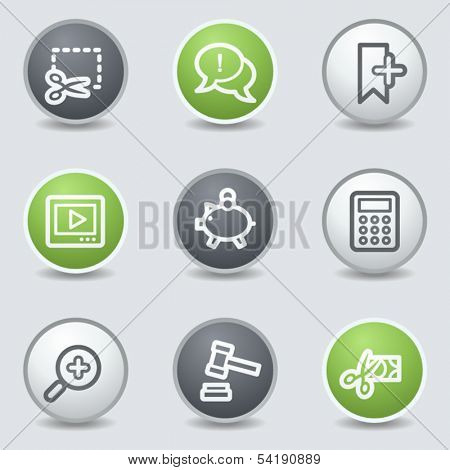 Shopping web icons set 3, circle buttons