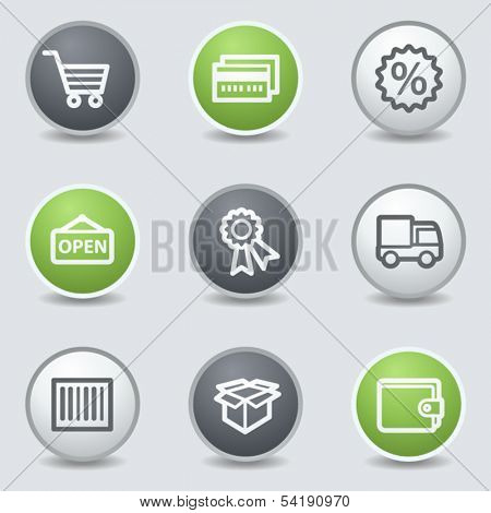 Shopping web icons set 2, circle buttons