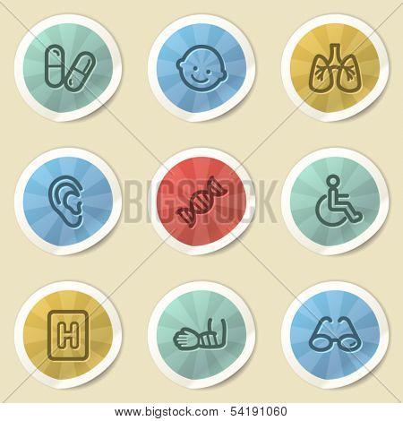 Medicine web icons, color vintage stickers