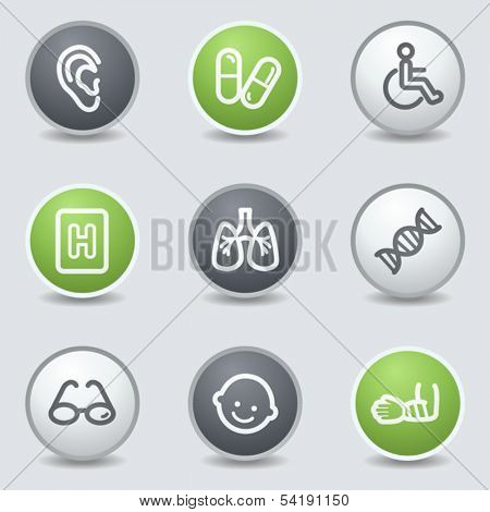 Medicine web icons set 2, circle buttons