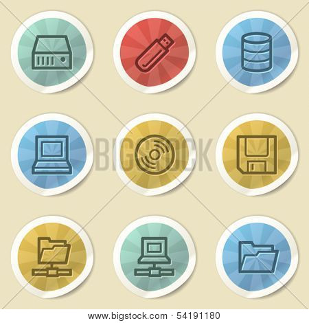 Drive storage web icons, color vintage stickers
