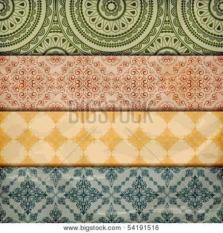 Vector Seamless Floral Borders On  Crumpled   Paper, Grunge Texture