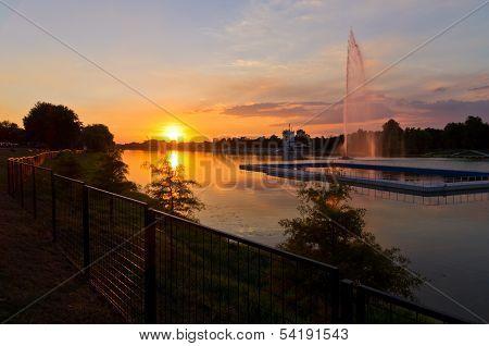 Summertime sunset at the Ada lake, Belgrade