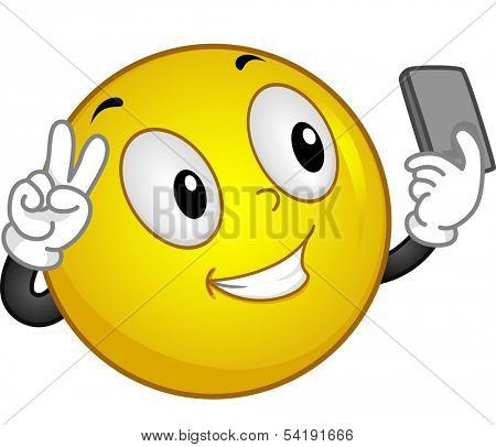 Illustration of a Smiling face Taking a Selfie