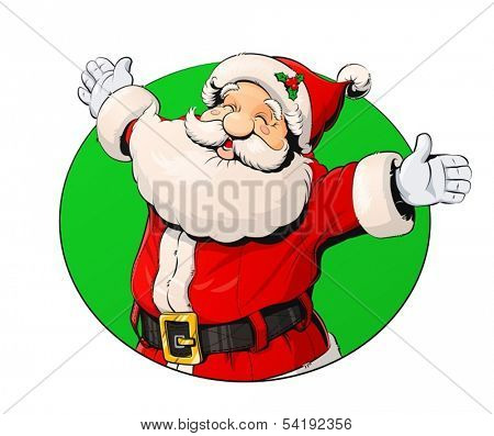 Smiling Santa Claus. Vector illustration isolated on white background.  EPS10. Transparent objects and opacity masks used for shadows and lights drawing
