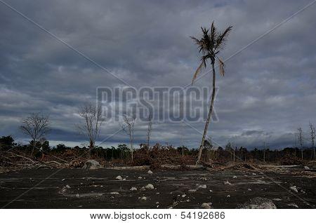 Area Flattened by Mount Merapi Eruption