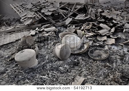 House Destroyed by Pyroclastic