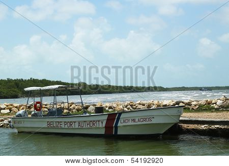Belize Port Authority boat in Belize City