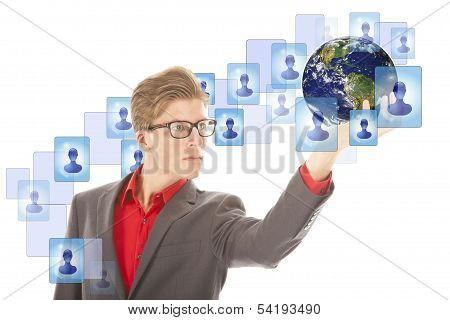Young Man With Globe And Virtual Friends Isolated On White. Elements Of This Image Are Furnished By