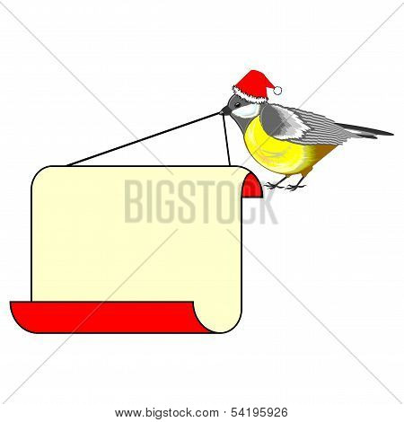 A Cute Christmas Bird (titmouse) With A Big Blank Paper In Its Beak
