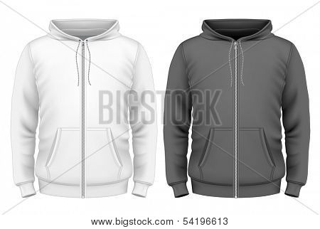 Photo-realistic vector illustration. Men's zip hoodie design template (front view).