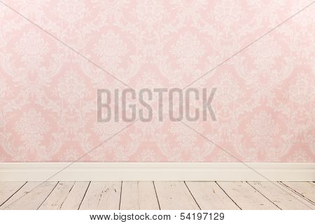 Vintage wall, wooden floor and plinth