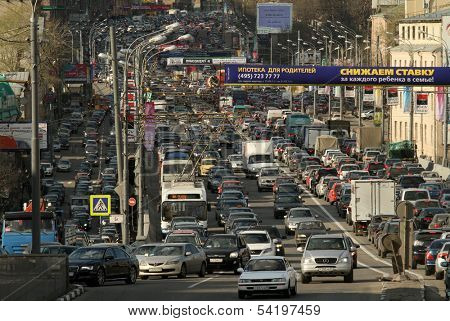 MOSCOW - APR 29: Cars stands in traffic jam on the city center, April 29, 2011, Moscow Russia. In Moscow continues rapid growth cars park, now more than 380 cars per 1,000 inhabitants.