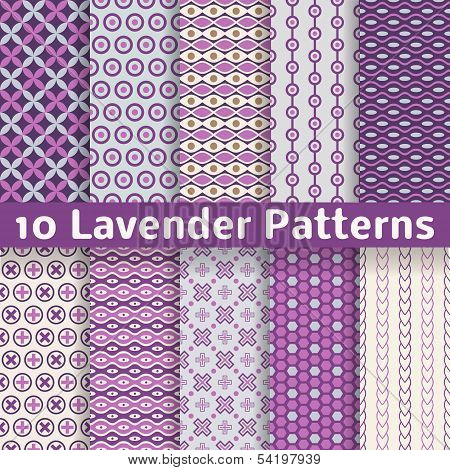 Lavender different vector seamless patterns