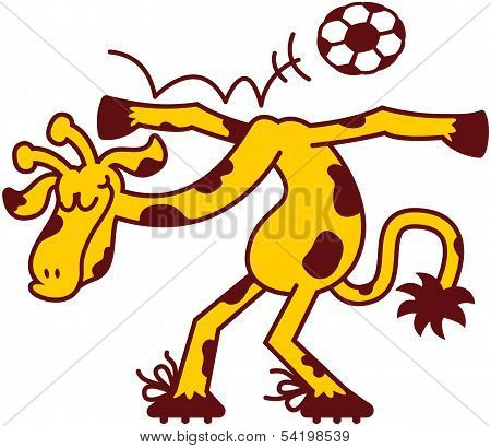 Giraffe performing pirouettes while playing soccer