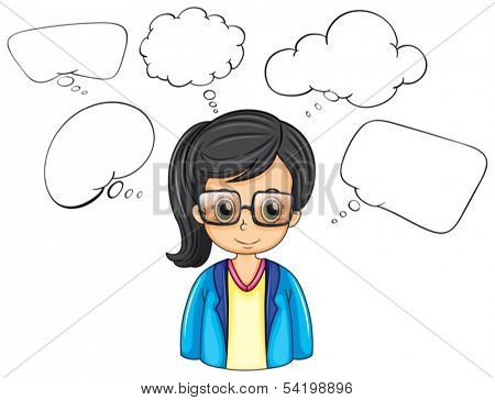 Illustration of a serious businesswoman with empty callouts on a white background