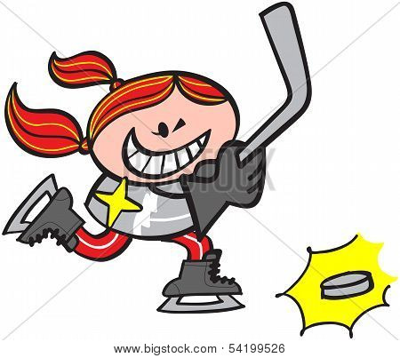 Cool girl playing ice hockey