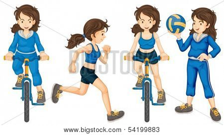 Illustration of the active teenagers on a white background