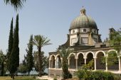 stock photo of beatitudes  - The Church Of The Beatitudes was built on a hill overlooking the Sea of Galilee and is the accepted site where Jesus preached the Sermon on the Mount - JPG