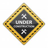 image of overhauling  - Under construction sign with icon of hammer and wrench - JPG