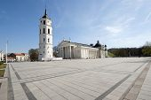 foto of pubic  - Granite Cathedral pubic domain square area in the center of the old Euroopean Vilnius city in Lithuania - JPG